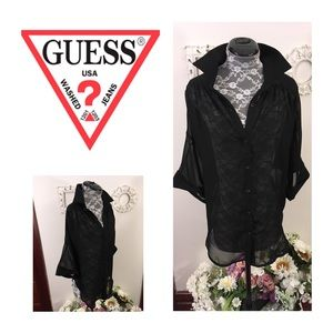 New GUESS Sheer Button Down Blouse